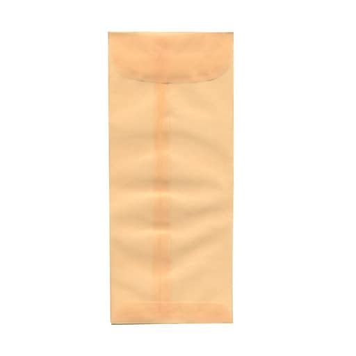 JAM Paper® #10 Policy Business Translucent Vellum Envelopes, 4.125 x 9.5, Spring Ochre Ivory, 25/Pack (1591903)