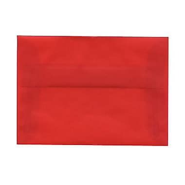 JAM Paper® 4bar A1 Envelopes, 3.63 x 5 1/8, Red Translucent Vellum, 100/Pack (1591618g)