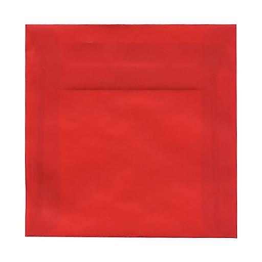 JAM Paper® 6 x 6 Square Translucent Vellum Invitation Envelopes, Primary Red, 25/Pack (PACV515)