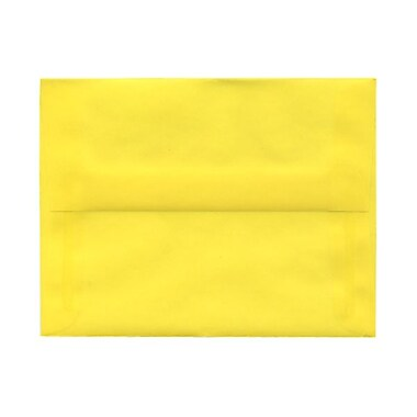 JAM Paper® A2 Invitation Envelopes, 4.38 x 5.75, Yellow Translucent Vellum, 100/Pack (PACV606g)