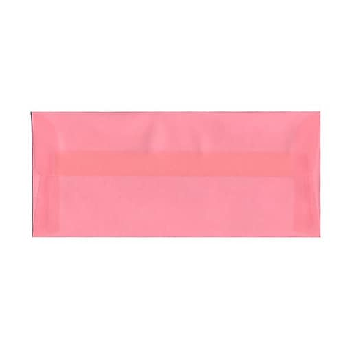 JAM Paper® #10 Business Translucent Vellum Envelopes, 4.125 x 9.5, Blush Pink, 25/Pack (PACV368)