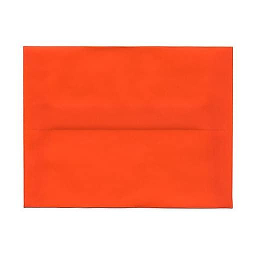 JAM Paper® A2 Translucent Vellum Invitation Envelopes, 4.375 x 5.75, Orange, 25/Pack (PACV619)