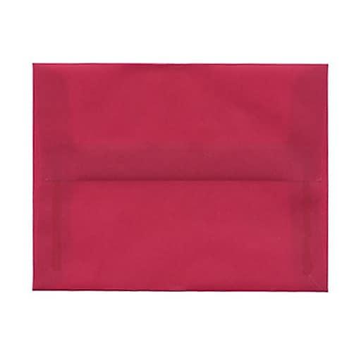 JAM Paper® A2 Translucent Vellum Invitation Envelopes, 4.375 x 5.75, Magenta Pink, 25/Pack (1591626)
