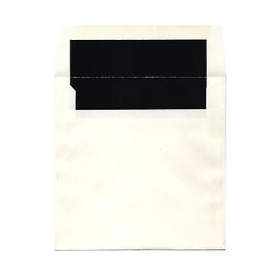JAM Paper® 7.25 x 7.25 Glossy Lined Square Envelopes, White with Black Lining, 1000/carton (5123111421B)