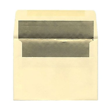JAM Paper® A7 Foil Lined Envelopes, 5.25 x 7.25, Ecru Ivory with Gold Lining, 100/Pack (2354150g)