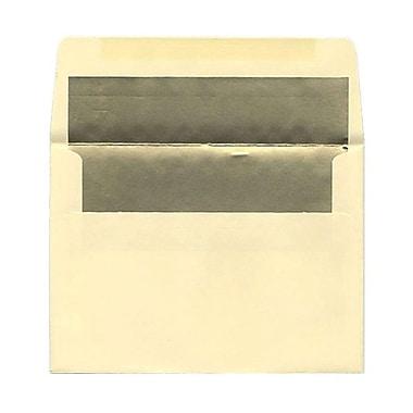 JAM PaperMD – Enveloppes avec revêtement intérieur et fermeture gommée, 5 1/4 x 7 1/4 po, ivoire avec intérieur doré, paq./100