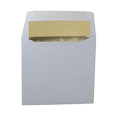 JAM PaperMD – Enveloppes carrées avec revêtement intérieur et fermeture gommée, 6 x 6 po, blanc avec intérieur doré, paq./100