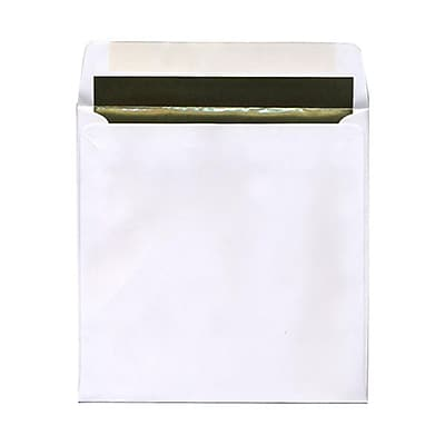 JAM Paper® 8.5 x 8.5 Square Foil Lined Envelopes, White with Gold Lining, 25/pack (3244692)