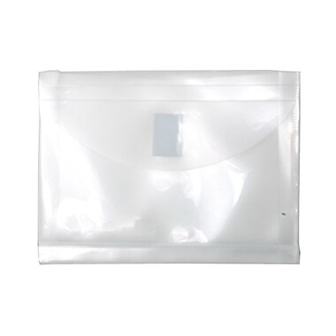 JAM Paper® Plastic Envelopes, VELCRO® Brand Closure, 1 Expansion, Index Booklet, 5.5 x 7.5, Clear Poly, 24/Pack (920V1clg)