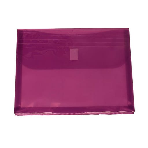 JAM Paper® Plastic Envelopes with Hook & Loop, Letter Booklet, 8.625x11.5 with 1 In Expansion, Lilac Purple, 12/Pack (218VC1LI)