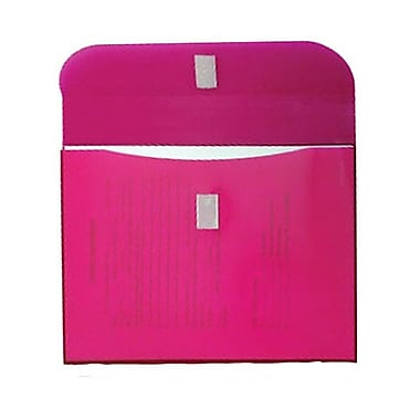 JAM Paper® Plastic Envelopes, VELCRO® Brand Closure, 1 Expansion, Letter Booklet, 8 5/8 x 11 1/2, Pink Poly, 12/Pack (218VC1PI)