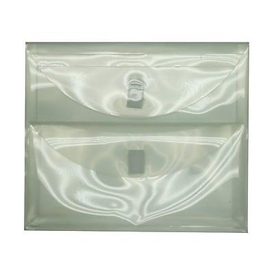 JAM Paper® Plastic 2 Pocket Envelopes with Hook & Loop Closure, Letter Booklet, 9.75