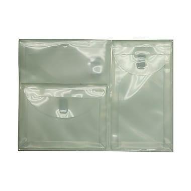 JAM PaperMD – Enveloppes en plastique à 3 pochettes avec fermeture à velcro, 9 3/4 x 13 po, transparent, paquet de 10