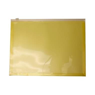 Jam PaperMD – Enveloppes en plastique, fermeture à glissière, format lettre, 9 1/2 x 12 1/2 po, jaune, 12/pqt