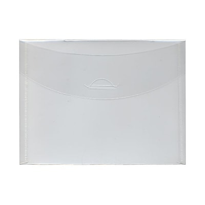 JAM Paper® Plastic Envelopes with Tuck Flap Closure, Booklet, 5 1/2 x 7 3/8, Clear Poly, 12/Pack (1541743)