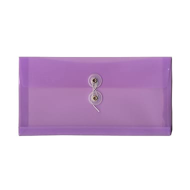 JAM Paper® #10 Plastic Envelopes with Button and String Tie Closure, 5.25 x 9.5, Lilac Purple Poly, 12/pack (921B1LILAC)