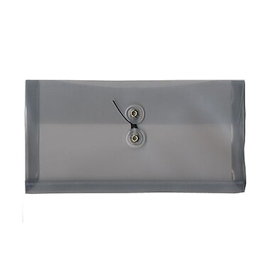 JAM Paper® #10 Plastic Envelopes with Button and String Tie Closure, 5 1/4 x 10, Smoke Grey Poly, 12/pack (921B1SM)