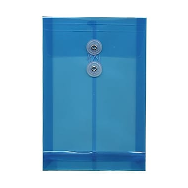 JAM Paper® Plastic Envelopes with Button and String Tie Closure, Open End, 6.25 x 9.25, Blue Poly, 12/Pack (472B1BU)