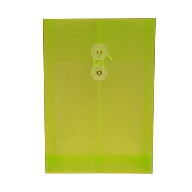 JAM Paper® Plastic Envelopes with Button and String Tie Closure, Open End, 6.25 x 9.25, Lime Green Poly, 12/pack (472B1LIGR)