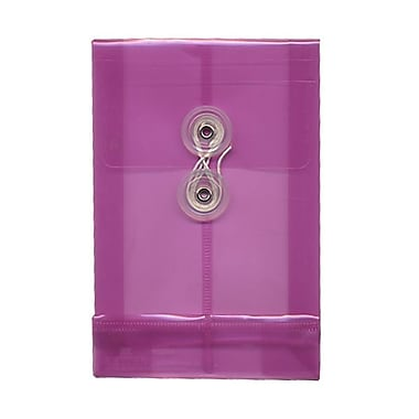 JAM Paper® Plastic Envelopes with Button and String Tie Closure, Open End, 4.25 x 6.25, Magenta Pink Poly, 12/pack (473B1MA)
