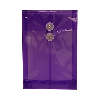 JAM Paper® Plastic Envelopes with Button and String Tie Closure, Open End, 6.25 x 9.25, Purple Poly, 12/pack (472B1PU)