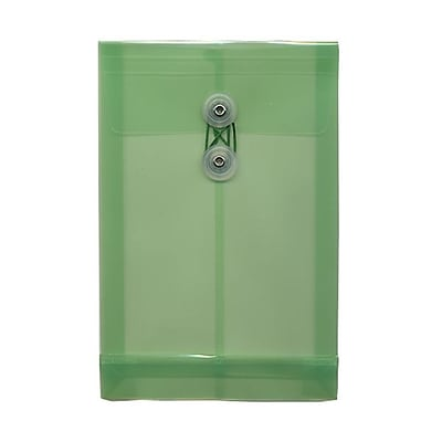 JAM Paper® Plastic Envelopes with Button and String Tie Closure, Open End, 6.25 x 9.25, Green Poly, 12/pack (472B1GR)