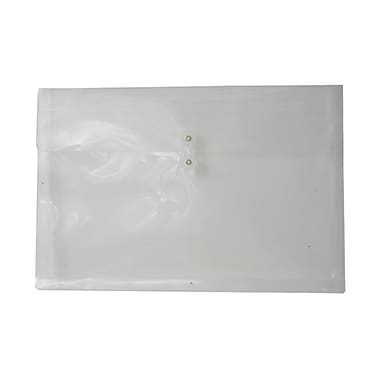 JAM Paper® Plastic Envelopes with Button and String Tie Closure, Booklet, 12 x 18, Clear Poly, 12/Pack (457B1CL)
