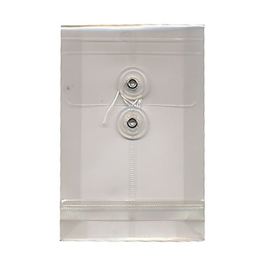 JAM Paper® Plastic Envelopes with Button and String Tie Closure, Open End, 4.25 x 6.25, Clear Poly, 24/Pack (473B1clg)