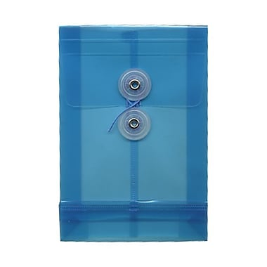 JAM Paper® Plastic Envelopes with Button and String Tie Closure, Open End, 4.25 x 6.25, Blue Poly, 24/Pack (473B1bug)