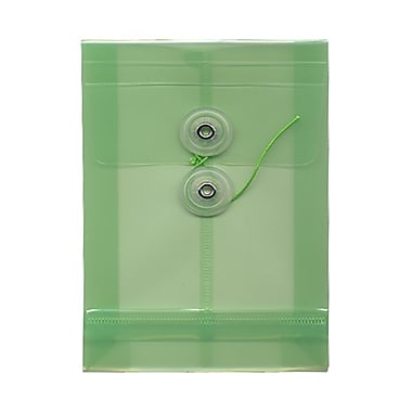JAM Paper® Plastic Envelopes with Button and String Tie Closure, Open End, 4.25 x 6.25, Green Poly, 24/Pack (473B1grg)