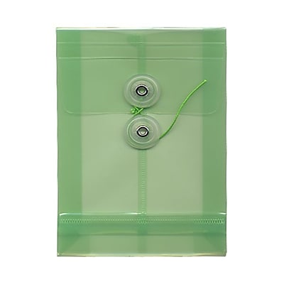 JAM Paper® Plastic Envelopes with Button and String Tie Closure, Open End, 4.25 x 6.25, Green Poly, 12/pack (473B1GR)