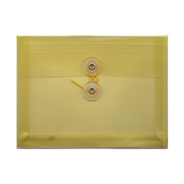 JAM Paper® Plastic Envelopes with Button and String Tie Closure, Index Booklet, 5.25 x 7.5, Yellow Poly, 24/Pack (920B1yeg)