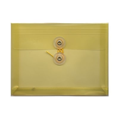 JAM Paper® Plastic Envelopes with Button and String Tie Closure, Index Booklet, 5.25 x 7.5, Yellow Poly, 12/pack (920B1YE)