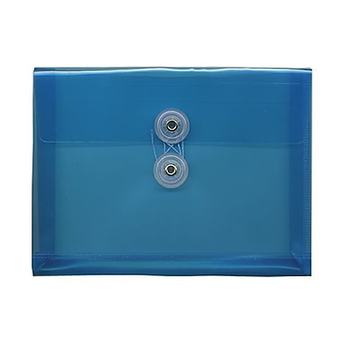 JAM Paper® Plastic Envelopes with Button and String Tie Closure, Index Booklet, 5.25 x 7.5, Blue Poly, 24/Pack (920B1bug)