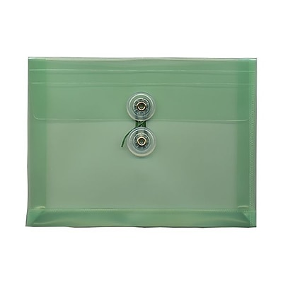 JAM Paper® Plastic Envelopes with Button and String Tie Closure, Index Booklet, 5.25 x 7.5, Green Poly, 12/pack (920B1GR)