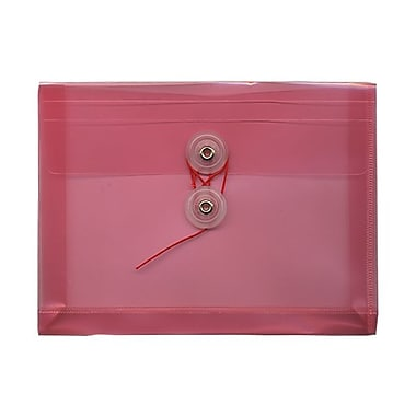 JAM Paper Plastic Envelopes with Button and String Tie Closure, Index Booklet, 5.25 x 7.5, Pink Poly, 24/Pack (920B1pig)