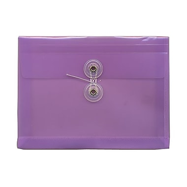 JAM Paper® Plastic Envelopes, Button and String Tie Closure, Index Booklet, 5.25 x 7.5, Lilac Purple Poly, 12/pack (920B1LILAC)