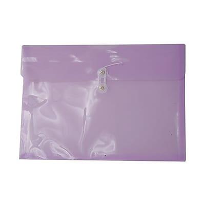 JAM Paper® Plastic Envelopes, Button and String Tie Closure, Legal Booklet, 9.75 x 14.5, Lilac Purple Poly, 12/pack (219B1LI)