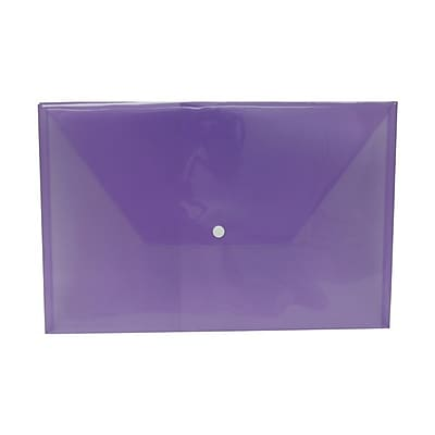 JAM Paper® Plastic Envelopes with Snap Closure, Legal Booklet, 9.75 x 14.5, Purple Poly, 12/pack (34830PU)