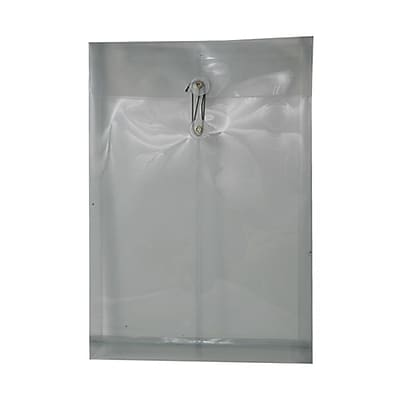 JAM Paper® Plastic Envelopes with Button and String Tie Closure, Legal Open End, 9.75 x 14.5, Smoke Grey Poly, 12/pack (119B1SM)