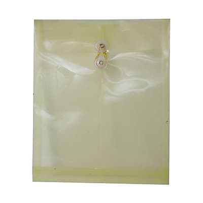 JAM Paper® Plastic Envelopes with Button and String Tie Closure, Legal Open End, 9.75 x 14.5, Yellow Poly, 12/pack (119B1YE)