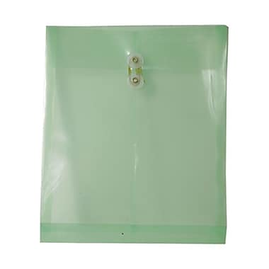 JAM Paper® Plastic Envelopes with Button and String Tie Closure, Letter Open End, 9.75 x 11.75, Green Poly, 12/Pack (118B1GR)
