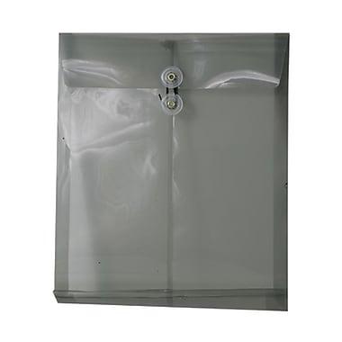 JAM PaperMD – Enveloppes en plastique, ouv. au sommet, ferm. à bouton et ficelle, 9 3/4 x 11 3/4 po, gris fumée, paq./12