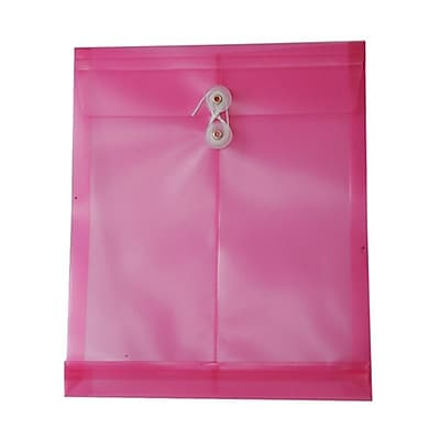 JAM Paper® Plastic Envelopes with Button and String Tie Closure, Letter Open End, 9.75 x 11.75, Hot Pink Poly, 12/pack (1221557)