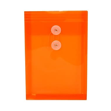 JAM Paper® Plastic Envelopes with Button and String Tie Closure, Open End, 6.25 x 9.25, Bright Orange Poly, 1080/Pack (472B1ORC)