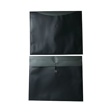 JAM Paper® Plastic Envelopes with Button and String Tie Closure, 15 x 18, Charcoal Blue Poly, 24/Pack (215887cg)