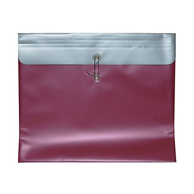 JAM Paper® Plastic Envelopes with Button and String Tie Closure, 15 x 18, Metallic Pink Poly, 12/pack (15882)