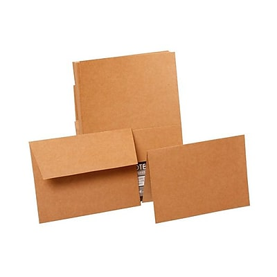JAM Paper® Recycled Stationery Set, 4 x 5.5, 50 Foldover Cards and 50 Envelopes, Brown Kraft Paper Bag (NTC05115)