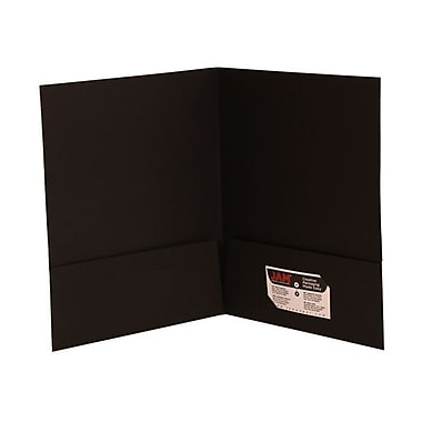 JAM Paper Two Pocket Presentation Folders, Black Linen, 12/Pack (99594dg)