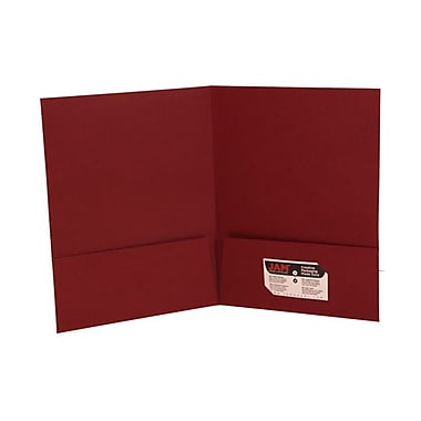 JAM PaperMD – Chemise fini lin à deux pochettes, 9 x 12 po, bourgogne, 12/paq.